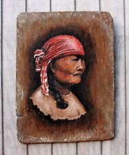 Vintage Weathered Woman Signed Artisan Painting Pacific Ocean Drift Wood 16X21