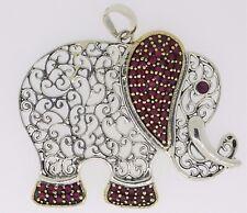 Elefanten Anhänger 925er Sterling Silber Rubin vergoldet Designerstück Stein Rot