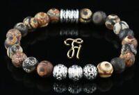 Tibet Achat Armband Bracelet Perlenarmband Silber Beads Buddha braun matt 8mm