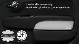 BLACK&WHITE 2X FRONT DOOR CARD TRIM LEATHER COVERS FITS FIAT 500 07-15 STYLE 2