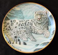"Vntg Franklin Mint National Wildlife Federation Snow Leopards 8 1/4"" Décor Plate"