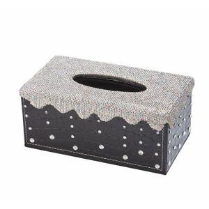 Shiny Bling Rhinestone Crystal Rectangular Tissue Box Cover Holder for Car Home
