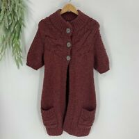 Free People Womens Long Cardigan Sweater Chunky Knit Short Sleeve Size XS Red