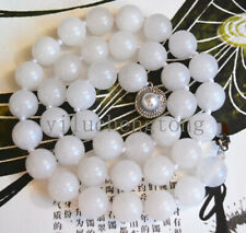 "New 10mm Nature white jade Gemstone Beads Necklace 18"" pearl Clasp"