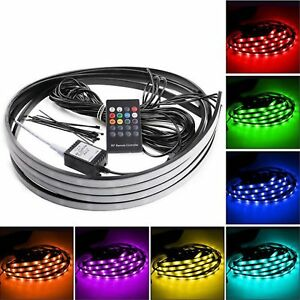 7 Color 5050 LED Underbody Underglow Lights Kit + Remote + Sound Activate effect