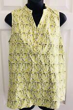 CHRISTOPHER BANKS Short Sleeve Linen Top Blouse Shirt Green Print Women's Size M