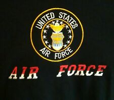 UNITED STATES AIR FORCE T Shirt Military Size XL Short Sleeves Black Embroidered