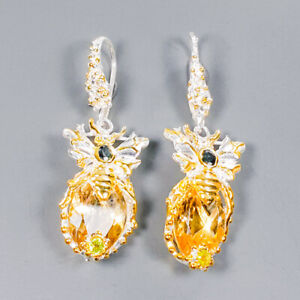 Citrine Earrings Silver 925 Sterling Vintage14ct+  /E42322