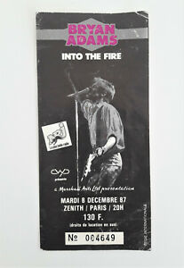 BRYAN ADAMS Into The Fire Tour 1987 Original Concert Ticket Stub Paris France