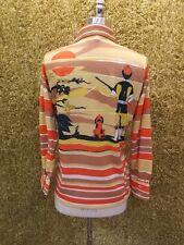 NOS Vtg 70s Orange Tan FOX HUNTER & HOUND SHIRT M Sporty Artsy Casual Mod Disco