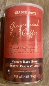 Trader Joe's Gingerbread Coffee - 14oz (397g) Ground Medium Dark Roast Cinnamon