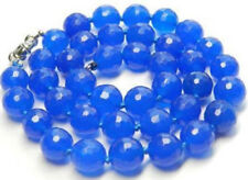 "12mm Faceted Blue Sapphire Round beads Necklace 18"" JN1559"