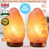 2 Pcs GIFT PACK NATURAL HIMALAYAN SALT LAMPS CRYSTAL LIGHT 4-6 KG IONISER RELAX