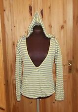 RIVER ISLAND grey yellow striped plunge v neck hooded hoodie jumper top 10 36