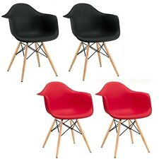2 Red Black Eiffel Dining Office Shell Arm Chairs Wood Dowel Base Legs