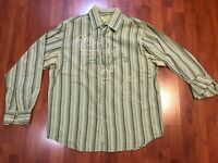 CUBAVERA Green Striped Long Sleeve Shirt with Embroidered Front Detail