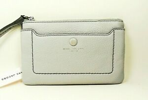 MARC JACOBS Genuine Light Gray Pebbled Leather Wallet Wristlet