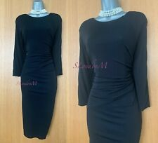 Karen Millen UK 14 Black Jersey Draped Detail Long Sleeves Pencil Occasion Dress