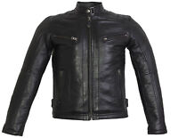 Herren Bikerjacke in  aus echtem Leder gesteppte Schultern Vintage style