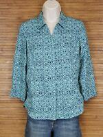 Royal Robbins Blue Geometric Hiking Outdoors Button Up Shirt Womens Size XS