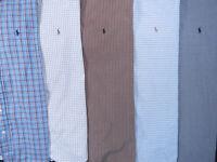 Lot Of 5 Ralph Lauren Polo Long Sleeve Button Front Shirts Mens 16 L 2 NWOT