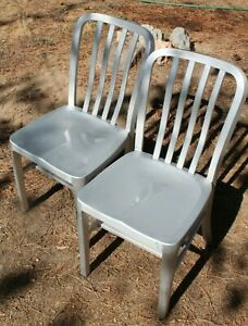 Lot of 2 Aluminum Chairs Crate and Barrel