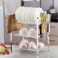 3 Layer Tier Chrome Alloy Dish Drainer Cutlery Holder Rack Drip Tray Kitchen