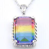 Huge Stone 3 Colors Wedding Bi Colored Tourmaline Gems Silver Necklaces Pendants