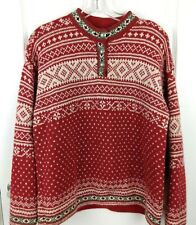 LL Bean Womens Red Nordic Fair Isle Knit Wool Blend Pullover Sweater Size M