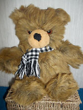 "PEEKO - BROWN, SOFT TEDDY BEAR WITH CHECKED BOW - 14"" - PLUSH CUDDLY TOY - VGC"