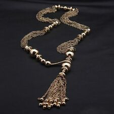 Vintage Retro Color Golden Fashion Chain Tassel Jewelry Necklace Women Long