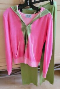 3pc Juicy Couture Green & Watermelon Pink 2 Terry Zip Hoodie Jackets 1 Pants XL