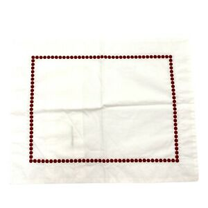 Pottery Barn Pearl Embroidered Accent Pillow Cover/Sham Ruby Red 12 in x 16 in