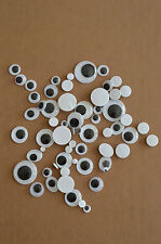 40 Stück selbst klebende Wackelaugen Augen gr. 5-20 mm rund oval mix Wiggle Eyes