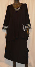 AVANT GARDE PLUS ARTSY JERSEY STRIPED 3/4 PULLOVER BLOUSE BLK WHITE O/S US 14