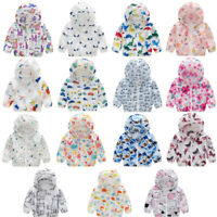 Toddler Infant  Baby Sunscreen Jackets Printing Hooded Outerwear Zipper Coats P
