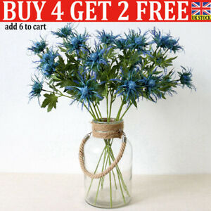 3Fork Flowers Artificial Eryngium Plants Thistles Leaves Home Bunch Party Decor