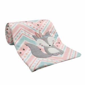 Lambs & Ivy Little Spirit Coral/White/Blue Chevron Fox Luxury Baby Blanket