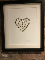 Bumble Bees Heart Original Signed Art Watercolour Painting, Not A Print, Gift