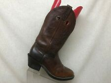 Double H Brown Leather Buckaroo Stockman Cowboy Western Boots Mens Size 8.5 EE