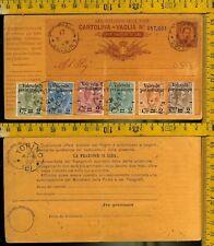 1891  Regno serie Pacchi soprastamapata su cartolina vaglia viaggiata