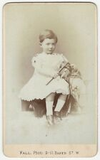 1880s London Carte de Visite of Young Boy with Toy Horse & Riding Crop
