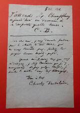 Charles BAUDELAIRE - Lettre autographe signée deux fois