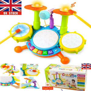 Kids Electronic Drum Kit Play Set Children Musical Toy Instrument w/ Microphone