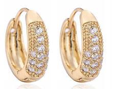Elegant 18 k Gold Plated with White Zircons Earrings for Women Hoops E759