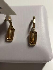 New DAVID YURMAN 18k Yellow Gold Novella Hoop Drop Citrine Earrings $1000