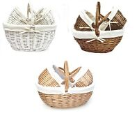 Strong Oval Wicker Easter Egg Shopping Picnic Hamper Storage Basket With Handle