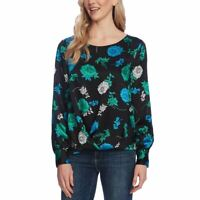 VINCE CAMUTO NEW Women's Floral Foldover-hem Satin Blouse Shirt Top M TEDO