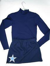 Cheerleader Uniform Outfit Long Sleeve Blue Skirt Top Adult S Teen STAR 34 Top
