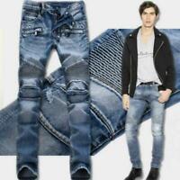 France Style Men Moto Biker Jeans Straight Slim Fit Denim Pants Distressed 0417